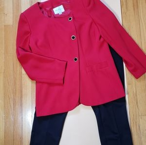 Kim Rogers Asymmetrical Button Front Jacket Red